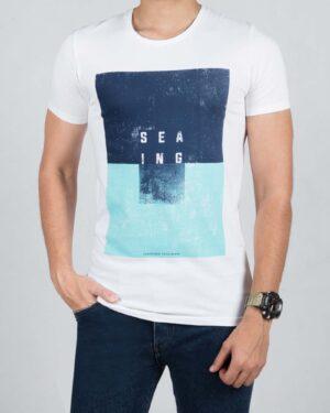 تیشرت مردانه اسپرت طرح چاپی - سفید - رو به رو