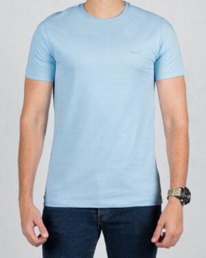 تیشرت مردانه ساده یقه گرد - آبی آسمانی - رو به رو تیشرت
