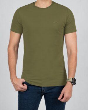 تیشرت مردانه ساده یقه گرد - زیتونی سیر - رو به رو تیشرت