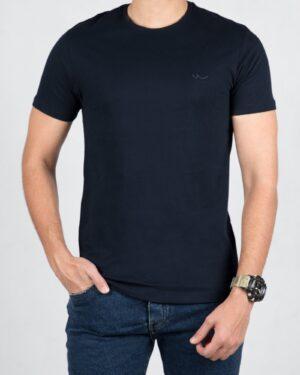 تیشرت مردانه ساده یقه گرد - سرمه ای تیره - رو به رو