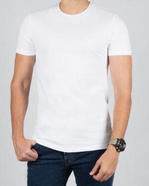 تیشرت مردانه ساده یقه گرد - سفید - رو به رو