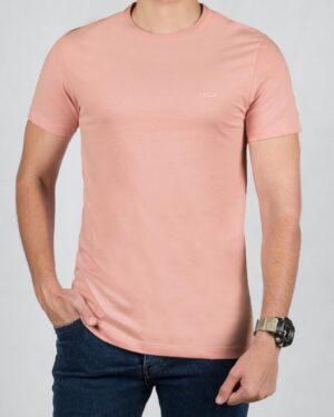 تیشرت مردانه ساده یقه گرد - صورتی - رو به رو