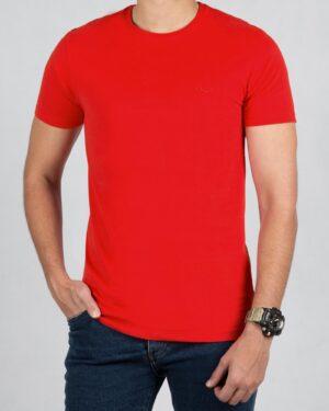 تیشرت مردانه ساده یقه گرد - قرمز - رو به رو