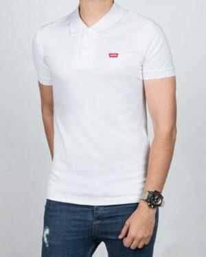 تیشرت یقه دار مردانه ساده - سفید - رو به رو