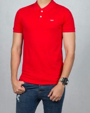 تیشرت یقه دار مردانه ساده - قرمز - رو به رو