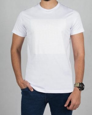 تیشرت یقه گرد مردانه اسپرت - سفید - رو به رو
