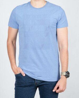 تی شرت مردانه اسپرت یقه گرد - آبی روشن - رو به رو