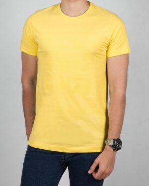 تی شرت مردانه اسپرت یقه گرد - زرد - رو به رو