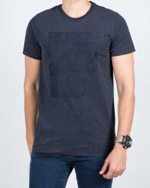 تی شرت مردانه اسپرت یقه گرد - سرمه ای - رو به رو