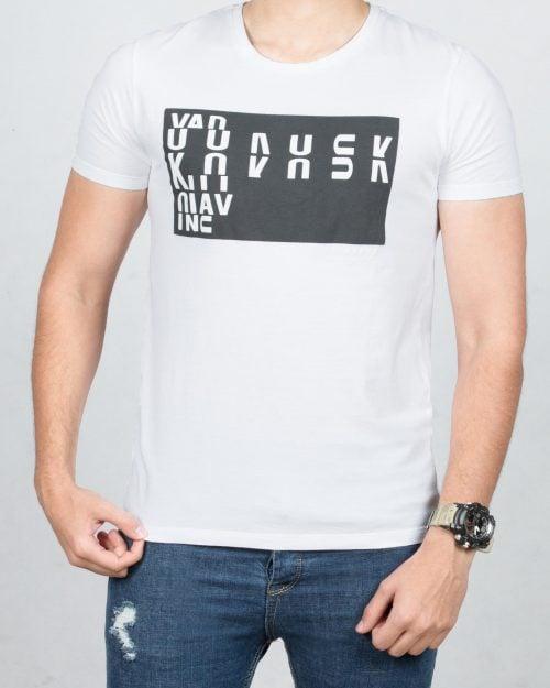 تی شرت نخی اسپرت مردانه - سفید - رو به رو