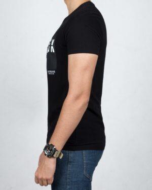 تی شرت نخی اسپرت مردانه - مشکی - بغل