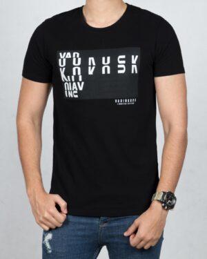 تی شرت نخی اسپرت مردانه - مشکی - رو به رو