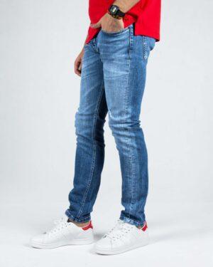 شلوار جین اسپرت راسته مردانه - آبی - بغل شلوار