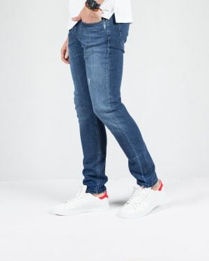 شلوار جین اسپرت راسته مردانه - آبی تیره - بغل شلوار