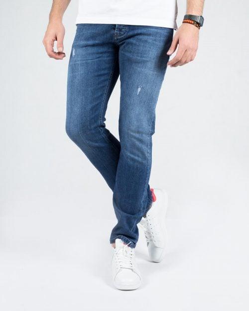 شلوار جین اسپرت راسته مردانه - آبی تیره - رو به رو شلوار