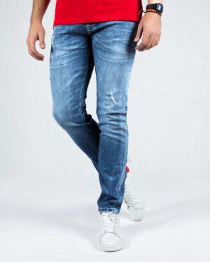 شلوار جین اسپرت راسته مردانه - آبی - رو به رو شلوار