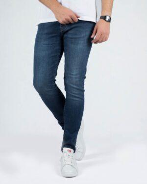 شلوار جین تیره مردانه اسپرت - آبی کاربنی - رو به رو