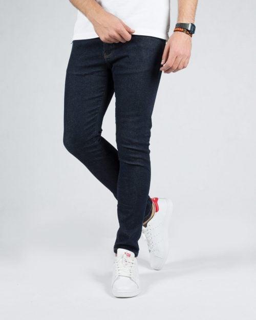 شلوار جین ساده اسپرت سرمه ای مردانه - سرمه ای تیره - رو به رو