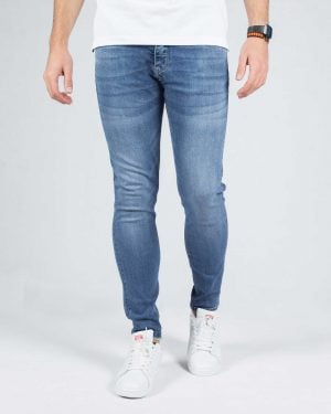 شلوار جین مردانه راسته - آبی - رو به رو شلوار