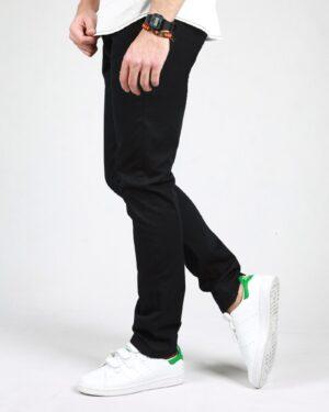 شلوار کتان مردانه ساده راسته - مشکی - بغل