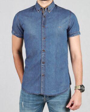 پیراهن جین آبی مردانه آستین کوتاه - آبی - رو به رو