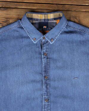 پیراهن جین آبی مردانه آستین کوتاه - آبی - یقه