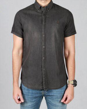پیراهن جین خاکستری آستین کوتاه مردانه - خاکستری تیره - رو به رو