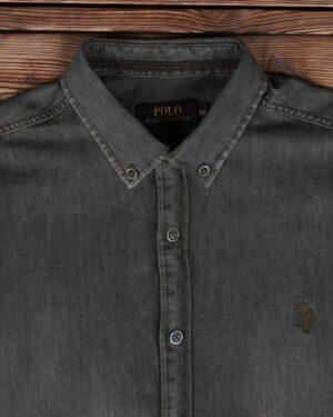 پیراهن جین خاکستری آستین کوتاه مردانه - خاکستری تیره - یقه مردانه