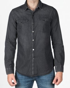 پیراهن جین خاکستری مردانه دو جیب - خاکستری تیره - رو به رو