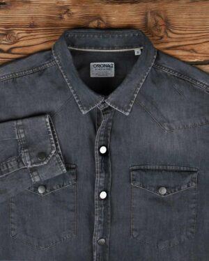 پیراهن جین خاکستری مردانه دو جیب - خاکستری تیره - یقه مردانه