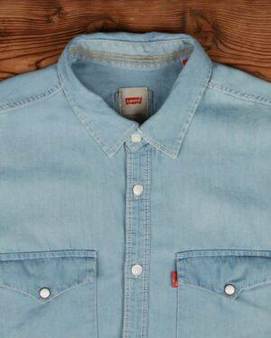 پیراهن جین روشن مردانه آستین کوتاه - آبی روشن - یقه مردانه