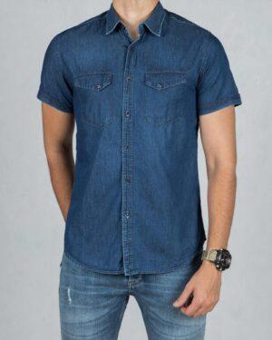 پیراهن جین سرمه ای جیب دار مردانه - سرمه ای - رو به رو