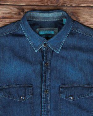 پیراهن جین سرمه ای جیب دار مردانه - سرمه ای - یقه مردانه