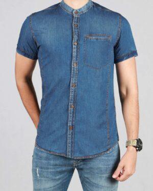 پیراهن جین مردانه یقه دیپلمات - آبی - رو به رو