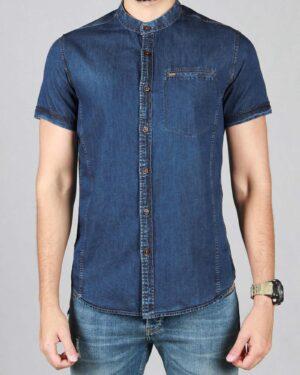 پیراهن جین مردانه یقه دیپلمات - آبی کاربنی - رو به رو