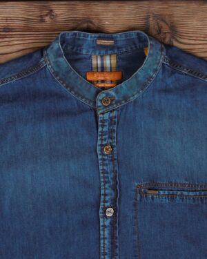 پیراهن جین مردانه یقه دیپلمات - آبی کاربنی - یقه دیپلمات