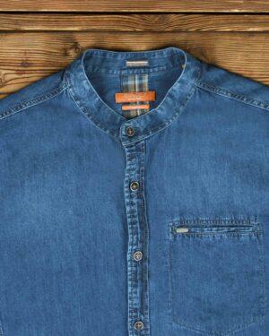 پیراهن جین مردانه یقه دیپلمات - آبی - یقه دیپلمات