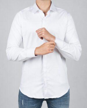 پیراهن مردانه ساده سفید کلاسیک - سفید - رو به رو