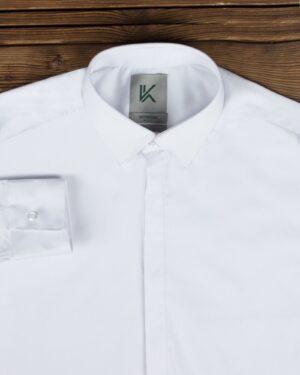 پیراهن مردانه ساده سفید کلاسیک - سفید - یقه