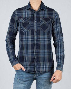 پیراهن چهارخانه دو جیب مردانه - آبی کاربنی - رو به رو
