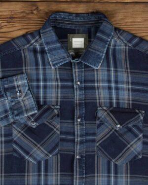 پیراهن چهارخانه دو جیب مردانه - آبی کاربنی - یقه مردانه