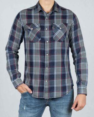 پیراهن چهارخانه مردانه جیب دار - سرمه ای - رو به رو