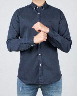 پیراهن کتان مردانه ساده - خاکستری - رو به رو