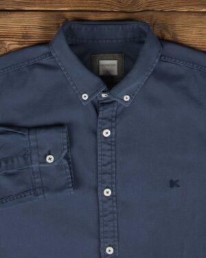 پیراهن کتان مردانه ساده - خاکستری - یقه مردانه