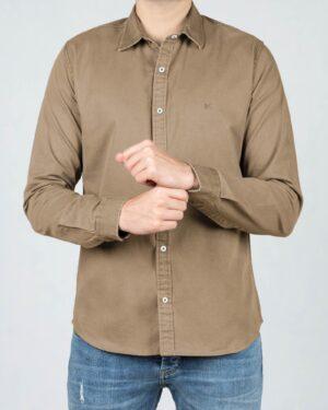 پیراهن کتان مردانه ساده - خاکی - رو به رو