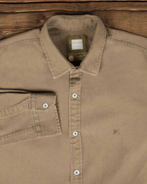 پیراهن کتان مردانه ساده - خاکی - یقه مردانه