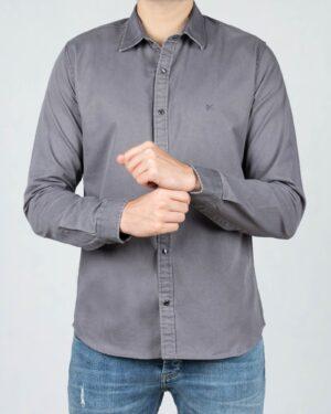 پیراهن کتان مردانه ساده - سربی تیره - رو به رو