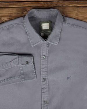 پیراهن کتان مردانه ساده - سربی تیره - یقه