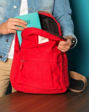 کوله پشتی مدرسه ساده - قرمز - محیطی