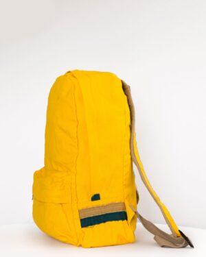 کوله پشتی کتان ساده - زرد - بغل